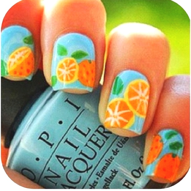 71 best citrus images on pinterest make up looks orange citrus nail art so cute i wish i could do this prinsesfo Gallery