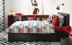 Bedroom Furniture - Beds, Mattresses & Inspiration - IKEA Like the red shelves, come in other colors too and only $17