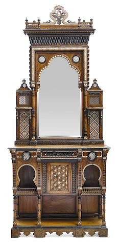 A Levantine bone and shell inlaid hardwood cabinet and a pair of Levantine wall shelves late 19th century