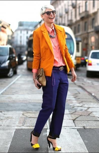 via Shine on You Crazy Diamond     #purple #pants #orange #blazer #street #style #fashion