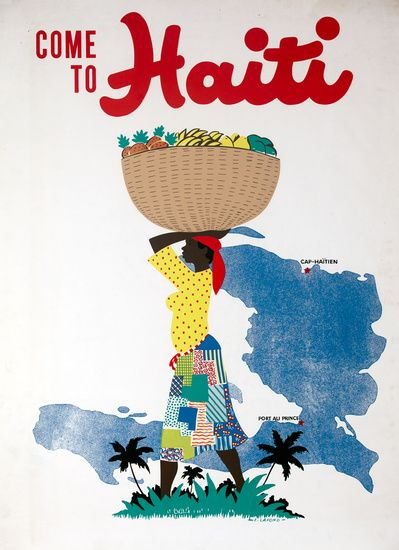 DP Vintage Posters - Come to Haiti Original Caribbean Travel Poster  blissful world