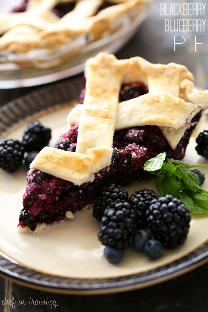 Blackberry Blueberry Pie from chef-in-training.com …This pie is melt-in-your-mouth delicious! Top off this warm pie with some ice cream and you have perfection!