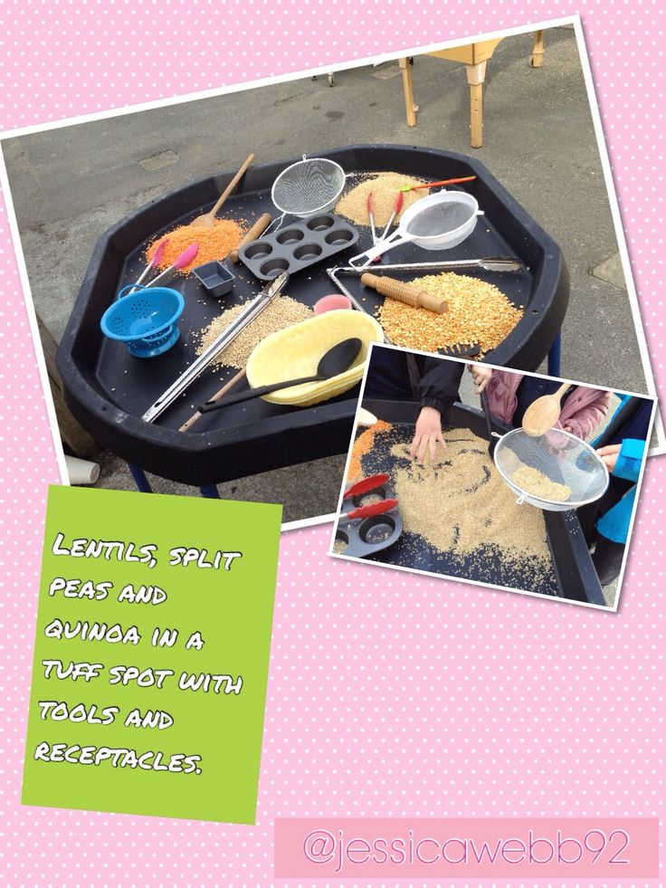 Lentils and pulses with tools and receptacles... endless exploration. EYFS