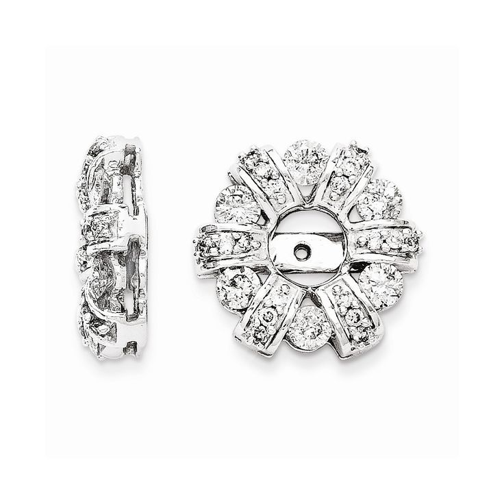 14K White Gold Diamond Circle Earrings Jackets