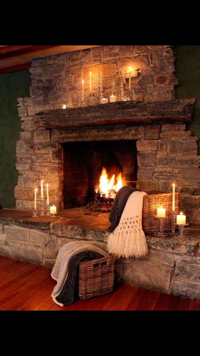 Very rustic fire place! I love it