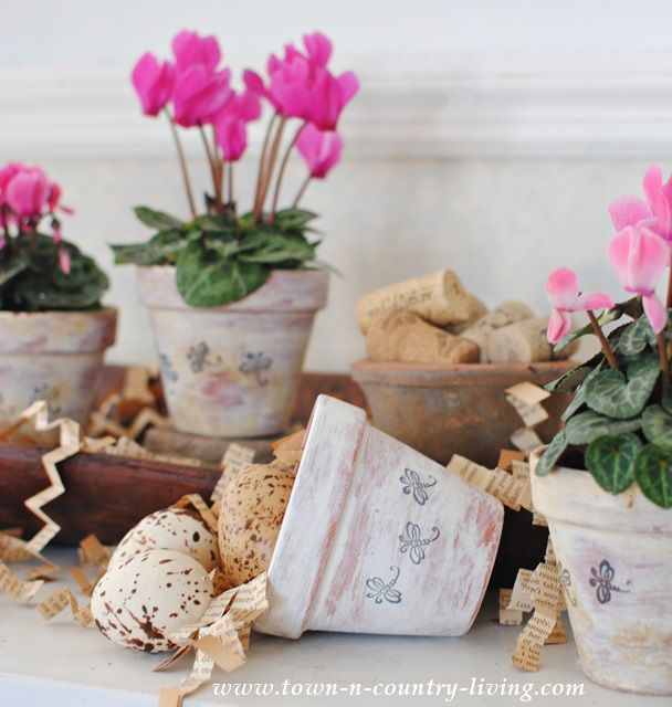 Aged and Stamped Garden Pots