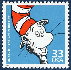 """Dr. Seuss' """"The Cat in the Hat"""" stamp, issued in 1999."""