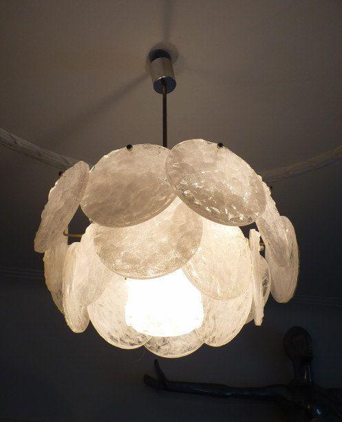 DORIA chandelier plastic elements pendant 60s 70s by artrelict