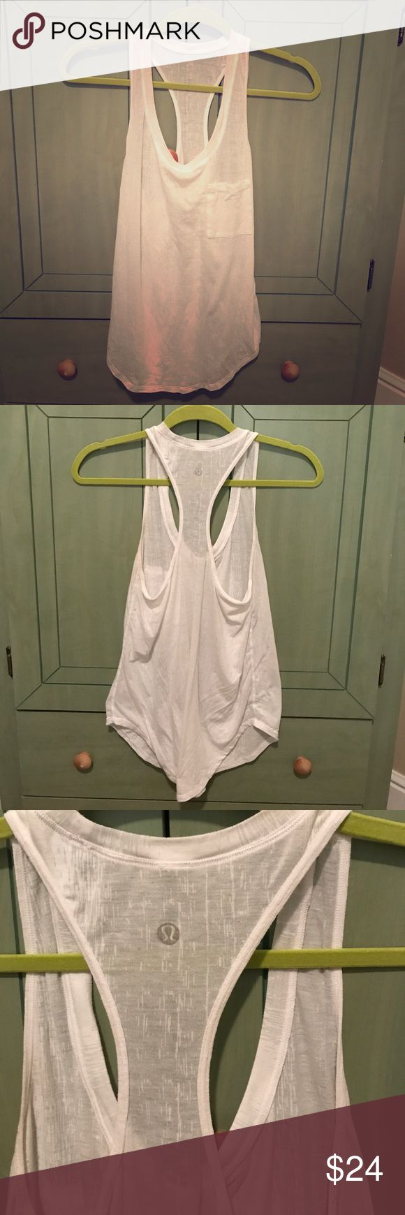 "Lululemon white ""Burnout Yogi Racerback"" Great to wear alone or under something  *last pic: stock image. Other pics are of this tank lululemon athletica Tops Tank Tops"
