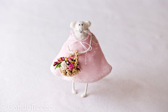 Knitted Rat/Mouse with Flower Basket-Shabby Chic Home Decoration-Art Doll-Summer Gift-Bridesmaid-Flower Girl-Soft Toy-Pastel Pink Dress-UK on Etsy, $76.60