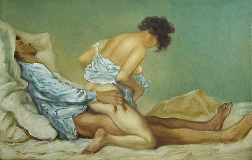 Zichy Revisited : Erotic Painting by Anthony Christian inspired by a drawing by Mihaly Zichy.  1945 - present