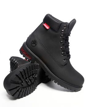 "#Timberland Helcor 6"" Boots with textured uppers and red trim on the back heel"