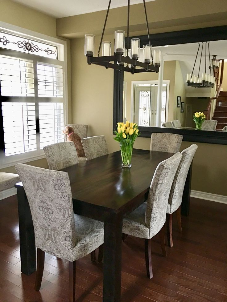 Farm House Table: Tobacco Brown Parsons Table and Grey ...