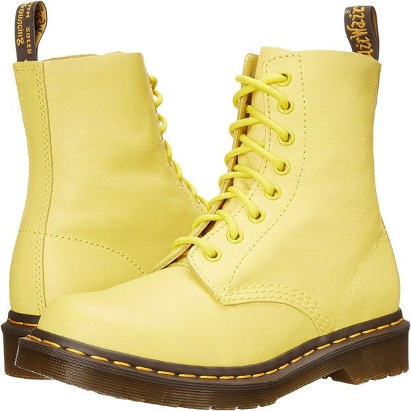 Dr. Martens Pascal Women's Lace-up Boots, Yellow ($108) ❤ liked on Polyvore featuring shoes, boots, ankle boots, yellow, oil resistant boots, laced up boots, dr martens shoes and yellow shoes