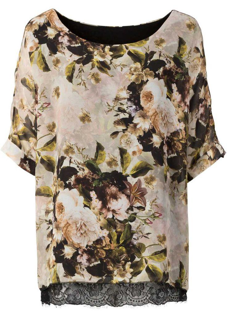 Туника с флоральным принтом и кружевом, BODYFLIRT, серо-коричневый/зеленый в цветочек