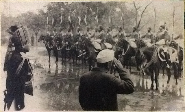 1950-  Photograph of FIRST EVER REPUBLIC DAY PARADE 1950, Gen Khanolkar on the extreme left with a file in his hand while Dr Rajendra Prasad salutes the contingent of The President's Bodyguard.