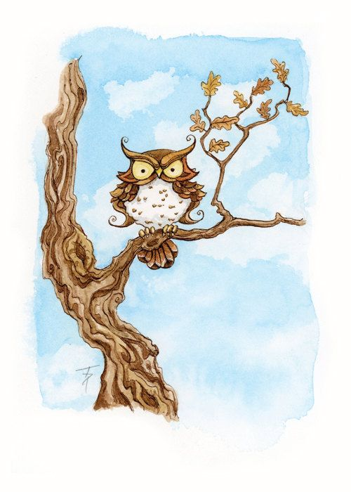 Cranky Owl Illustration 5x7 Print by Tinadh on Etsy, $10.00