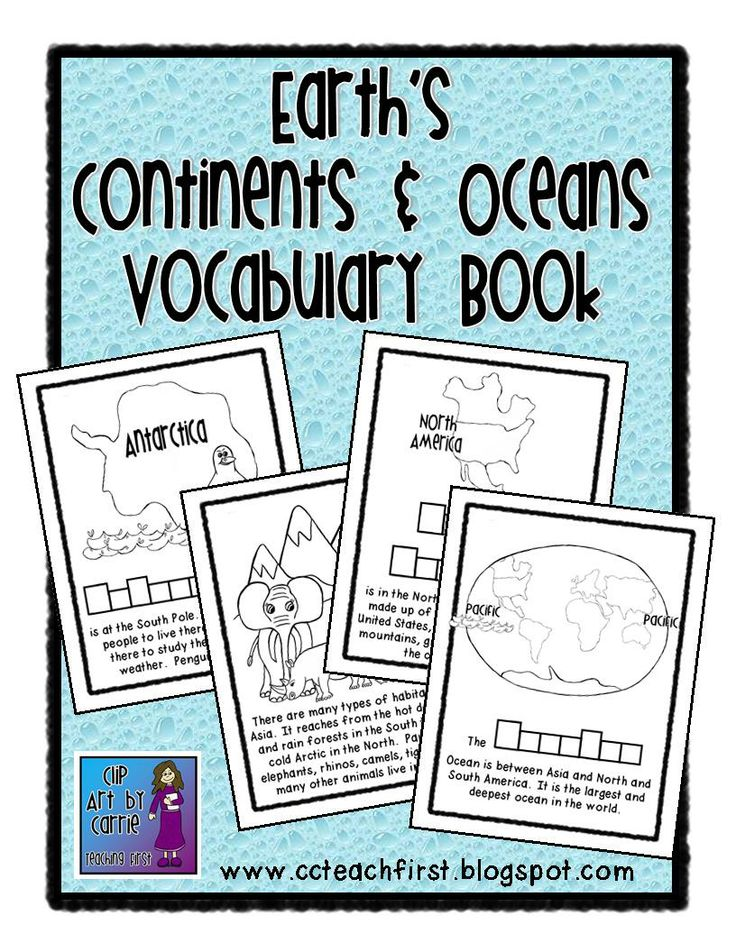 Continents and Oceans Vocabulary Book by Clip Art by Carrie