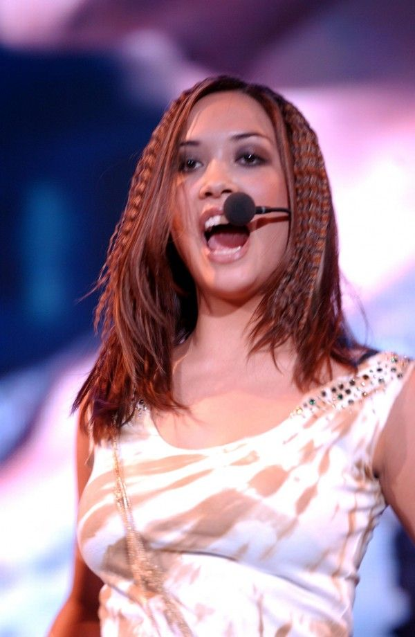 Myleene Klass from pop group Hear'Say performing on stage at London's Wembley Arena.