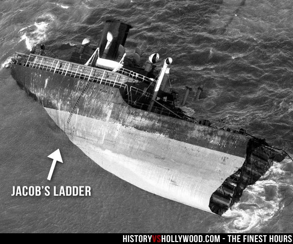 SS Pendleton Stern with Jacob's Ladder, which is the rope staircase the crew descended during the rescue. Read 'The Finest Hours: History vs. Hollywood' at: http://www.historyvshollywood.com/reelfaces/finest-hours/