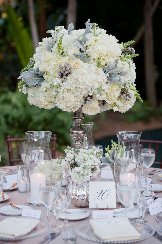 Tall Grey and White Wedding Reception Ideas