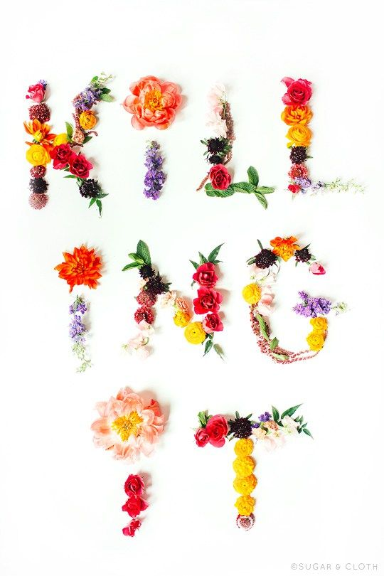 DIY Flower Artwork Printables by Sugar & Cloth. I love the use of flowers to create a font. This typography is gorgeous and witty.