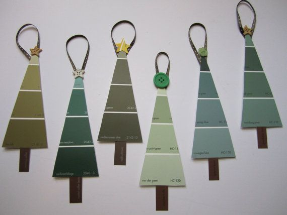 Paint chip christmas trees!! Would make cute gift tags  MAK note: Oh what fun it is to .... make paint chip tags, and I'll try many colors.