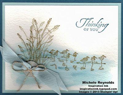 Handmade card using Stampin' Up! Wetlands Set and watercoloring.