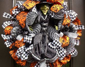 Halloween Witch Wreath, Black and White Halloween Wreath, Witch Door Decoration, Mesh Wreath Halloween
