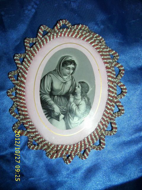 175) Heiligenbild wunderschöne Klosterarbeit Bild in Perlen gerahmt ges. gesch.