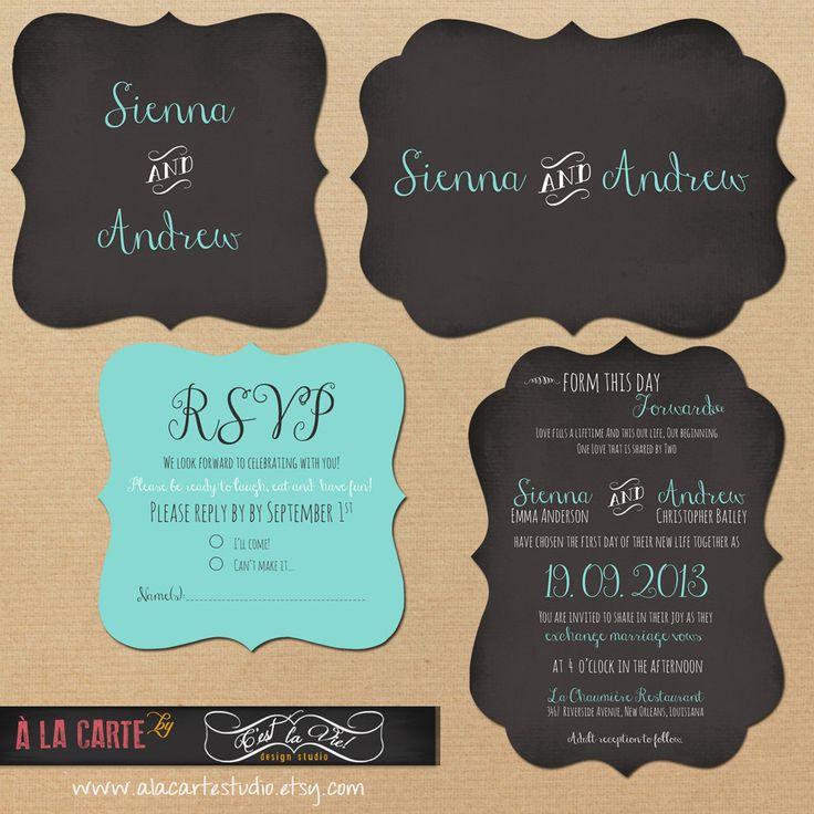 wedding invitation rsvp wording funny%0A Die cut Ornate Chalk Tiffany Blue Wedding Invitation Suite  Invitation and  RSVP Card
