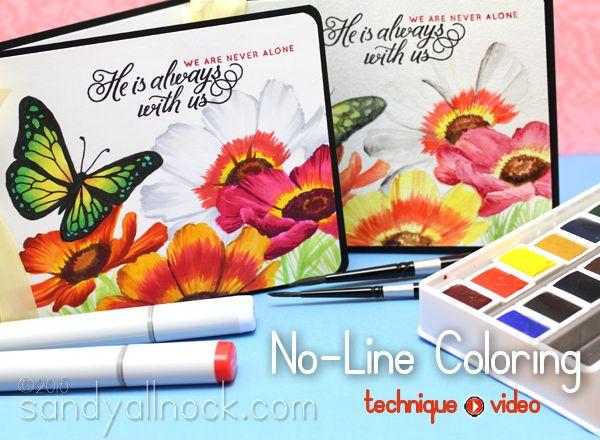 No Line Coloring: Copic and Watercolor   Sandy Allnock