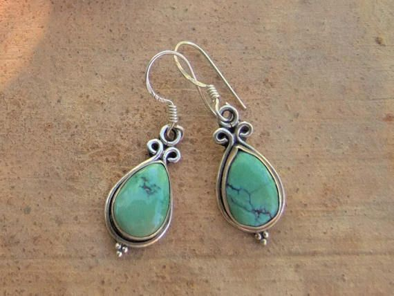 Sterling silver earrings with turquoise stone. Ethnic. Silver