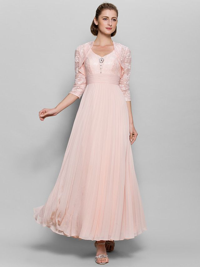 Lanting bride a line mother of the bride dress ankle for Ankle length wedding dress with sleeves