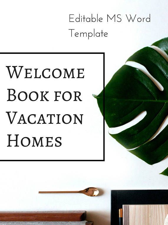 Vacation Rental Welcome Book Template -- Instant Digital Download