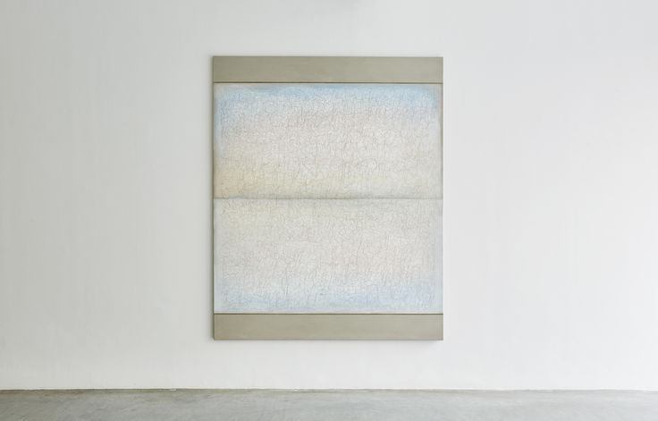 Richard Höglund, Sea Picture LIII (Primary Colours, BLUE), 2016, silver, tin, lead and oil on linen prepared with bone pulver and marble dust, 226 x 183 cm. Ronchini Gallery, London.