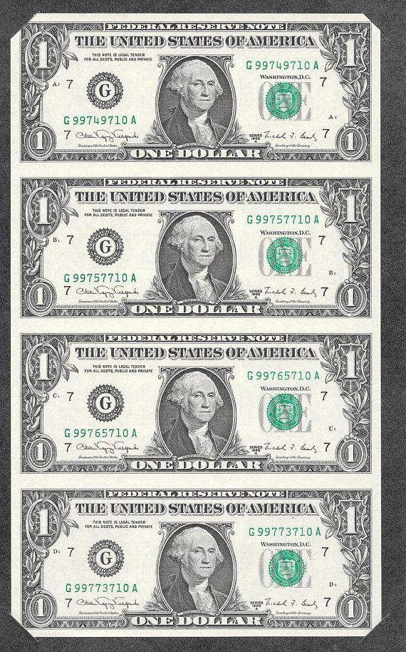 Bureau Of Engraving Printing 1988 Uncut Sheet Of 4 One Dollar