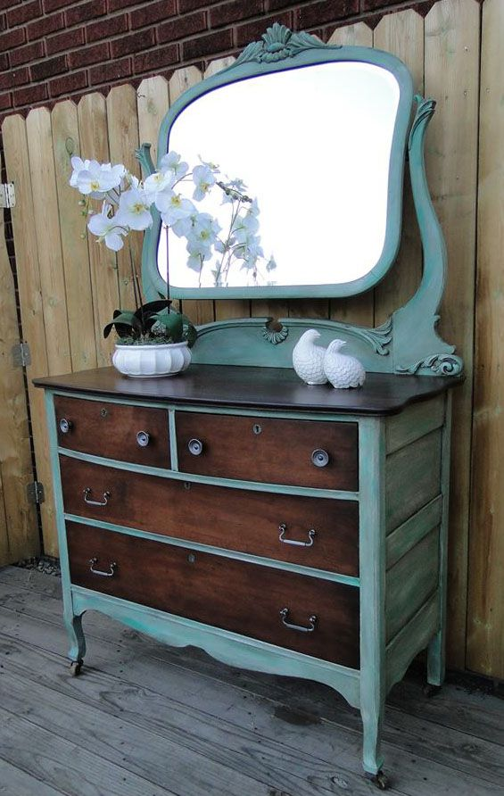 Beautiful Dresser in a Custom Green Milk Paint and Java Gel Stain | Design Ideas For Finishing Furniture, Cabinets & Floors