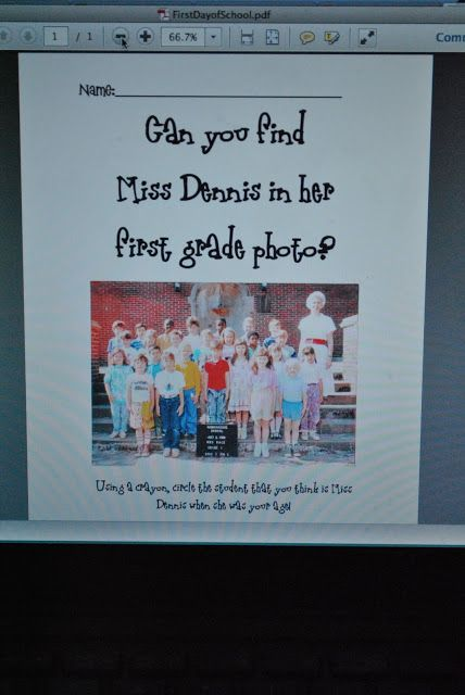 Notes from Miss Dennis: my favorite first day activity!