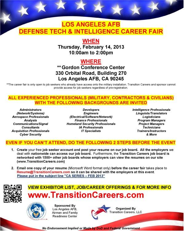 Los Angeles Afb Defense Tech Intelligence Career Fair Los Angeles Afb Ca February 14 2013 Http Military Civilian Blo Veteran Jobs Career Job Opening