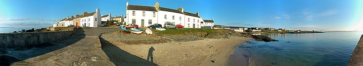 Port Charlotte Shore Street from pier panorama, Isle of Islay