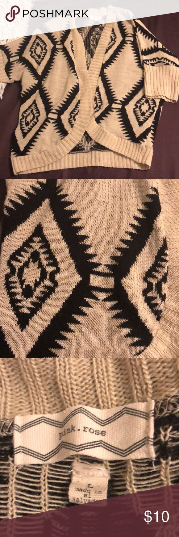 Tan and black Aztec pattern sweater Short sleeved sweater cardigan with Aztec print. Pink Rose Sweaters Cardigans