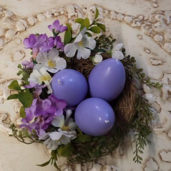 Ostara Candles Lavender Egg Candles Nest Ostara by TheShabbyWitch