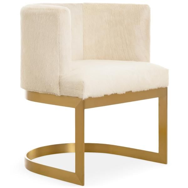 Ibiza Dining Chair In Brushed Brass And Cowhide Modern Dining