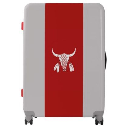 Red Ghost Dance Buffalo UGOBAGS large suitcase - american travel gifts giftideas traveller america