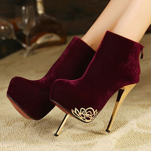 Free shipping 2013 Bootsultra high heels winter boots sexy fashion thin heels flower velvet women's ankle boot shoes wine red-ZZKKO