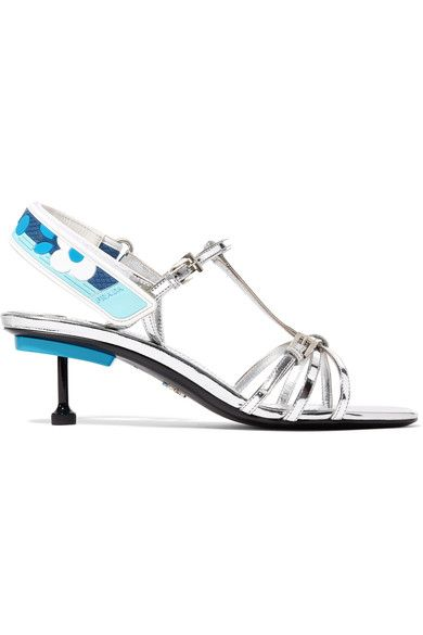 Heel measures approximately 40mm/ 1.5 inches Silver leather Buckle-fastening ankle strap, Velcro®-fastening slingback strap Made in Italy