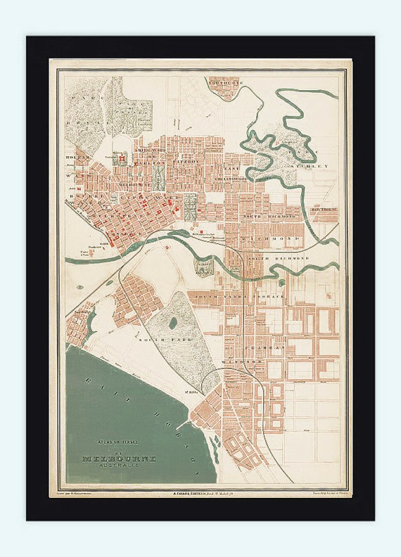 Vintage Map of Melbourne City  Australia Oceania by OldCityPrints, $29.00