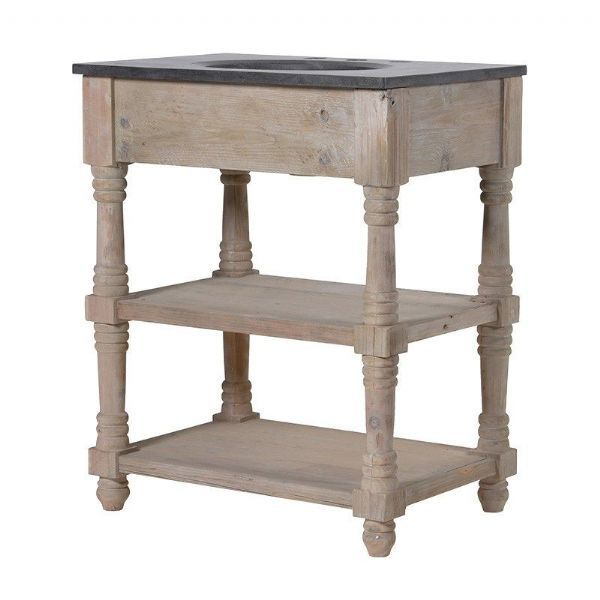 Small Rustic Wooden Marble Top Sink Vanity Unit with Open