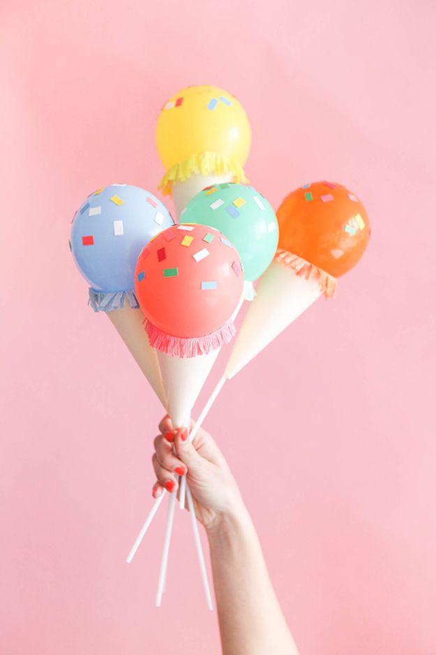 39 Easy DIY Party Decorations - Mini Ice Cream Cone Balloon Sticks DIY - Quick And Cheap Party Decors, Easy Ideas For DIY Party Decor, Birthday Decorations, Budget Do It Yourself Party Decorations http://diyjoy.com/easy-diy-party-decorations